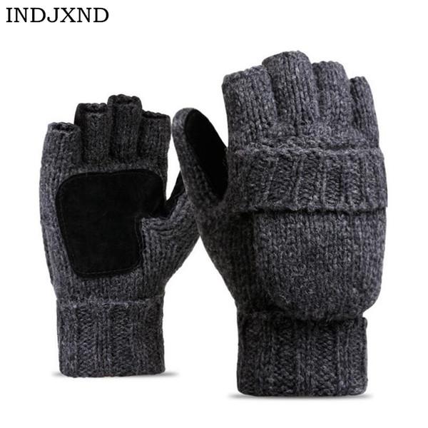2018 Unisex Plus Thick Male Fingerless Gloves Men Wool Winter Warm Exposed Finger Mittens Knitted Warm Flip Half Finger Gloves D18110705