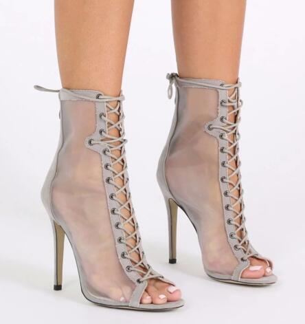 b8f6b8b2fb Women High Heel Mesh Shoes Peep Toe Ankle Boots Grey Ladies Booties Lace Up  Black Summer
