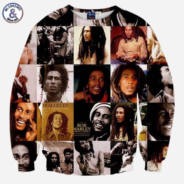 2017 Mr.1991INC Bob Marley Sweatshirts hommes / femmes à manches longues 3d sweat imprimé casual hoodies tops survêtements pull