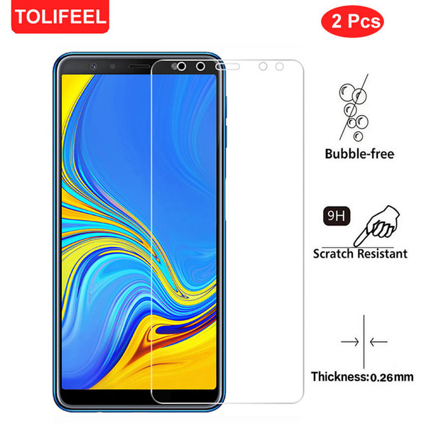 2Pcs 9H Tempered Glass For Samsung Galaxy A7 2018 A750 Screen Protector Film 6.0Inch Clear Toughened Glass Cover Guard