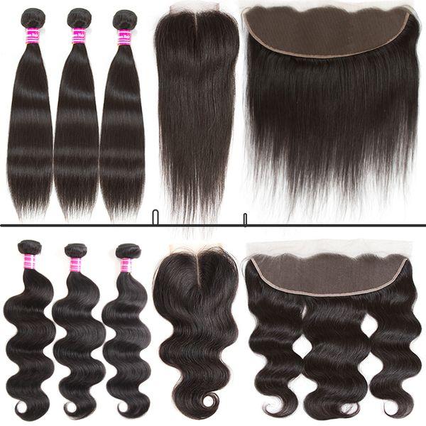 Glary Ucuz Brezilyalı Bakire Saç Vücut Dalga Düz 3 Bundle Ve 4x4 dantel kapatma veya 13x4 dantel frontal İnsan saç atkı