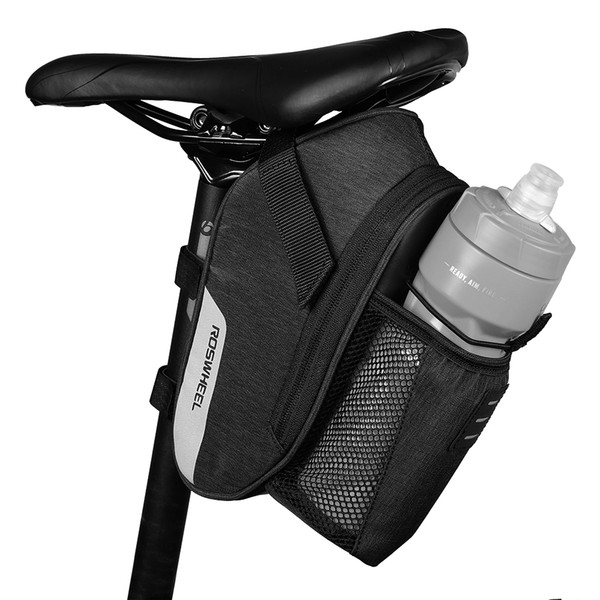 ROSWHEEL Bike Saddle Bag Cycling Strap-on Saddle Bag MTB Road Bike Seat Pack Water Repellent Storage Pouch