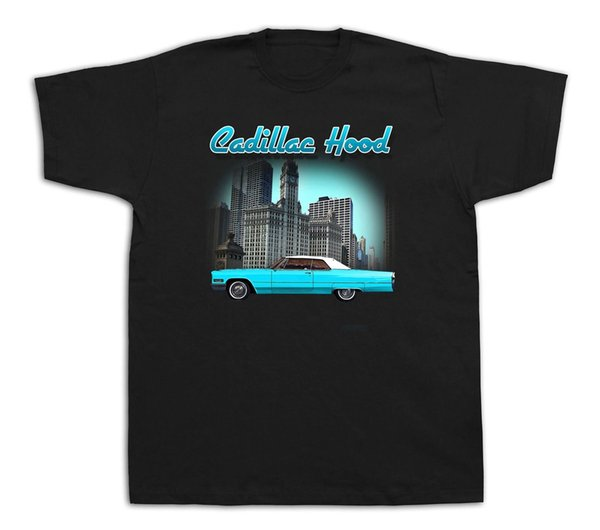 hood sunny Antique Muscle Car Hot Rod Tshirts Emblem Chrome Deville GM Funny free shipping Unisex Casual tee top