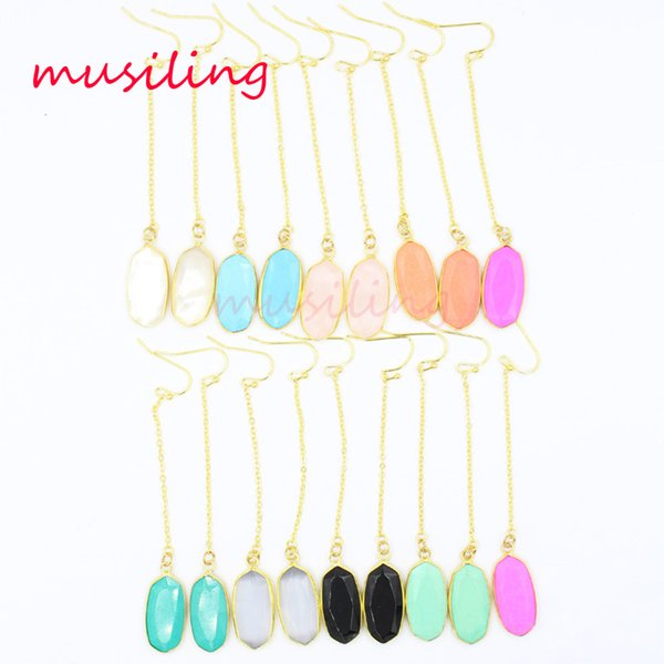 Long Drop Earrings 18K Gold Plated Jewelry For Women Natural Gem Stone Earring Crystal Pearl Shell etc Accessories Jewelry