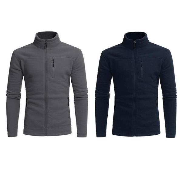 Men's Jacket Winter Warm Sportwear Polar Fleece Zip Pocket Jacket Solid Hoodie Navy Blue Grey Plus Sizes M- XXL