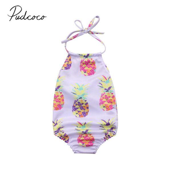 2018 Brand New Criança Infantil Recém-nascidos Crianças Baby Girl Sling Abacaxi Swimsuit Romper Beachwear Outfits Verão Swimwear 0-24 M