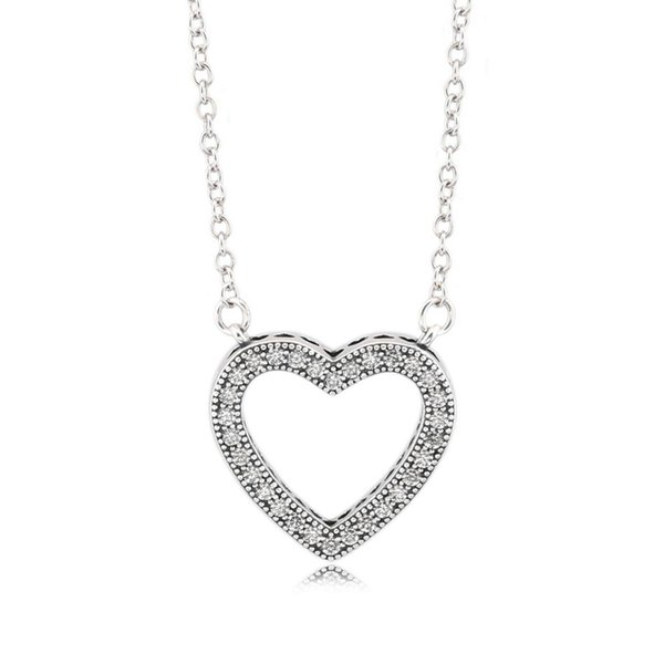Authentic 925 Sterling Silver Loving Hearts Jewelery Girl Gift Chain Choker Clear CZ For Women Wedding fit Lady Fine Jewelry