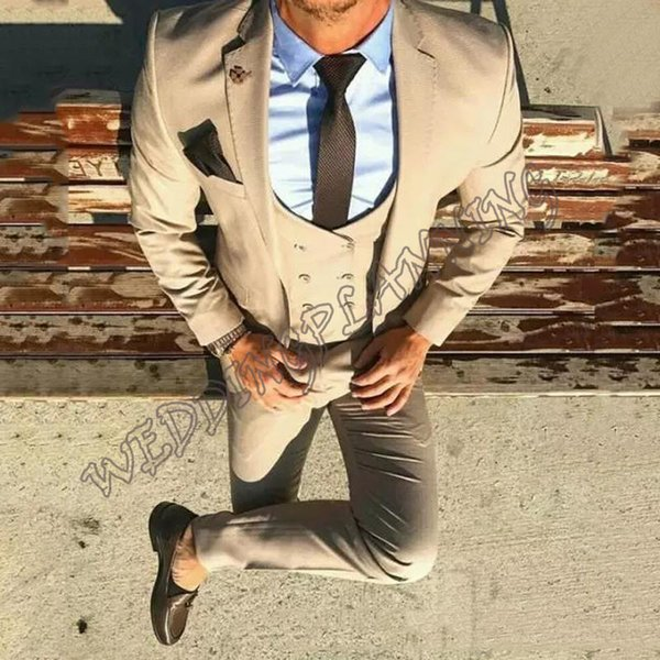 New Wedding Men Suits Slim Fit Groom Wear Tuxedos 3 Pieces (Jacket+Pants+Vest) Prom Dinner Suits Blazer Costume Homme 2019