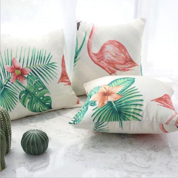 fashion 60cm cushion cover grey feather almofada tropical flamingo chaise chair throw pillow case green cactus decorative cojine