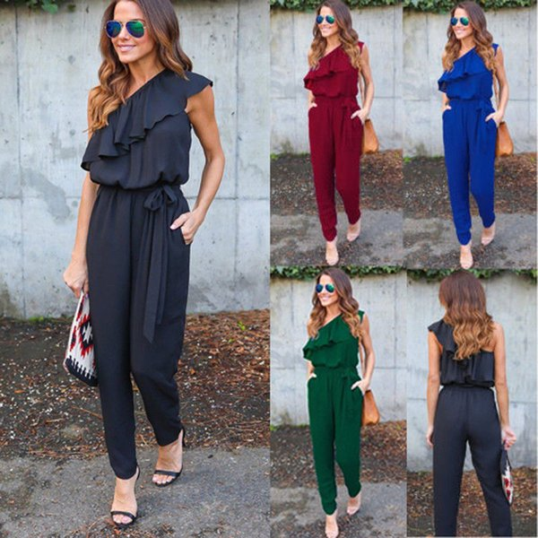 Summer Fashion Casual Women Ladies Jumpsuit Sleeveless Off Shoulder Ruffles Sashes High Waist Solid Slim Jumpsuit 4 Style S-XL