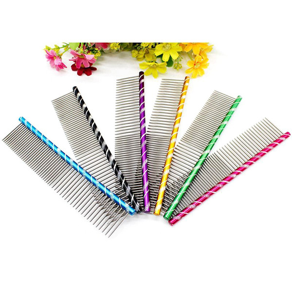 Striped Pet Dog Hair Removal Tool Stainless Steel Cat Straight Comb Sparse Dense Needle Brush Puppy Grooming Trimming Combs