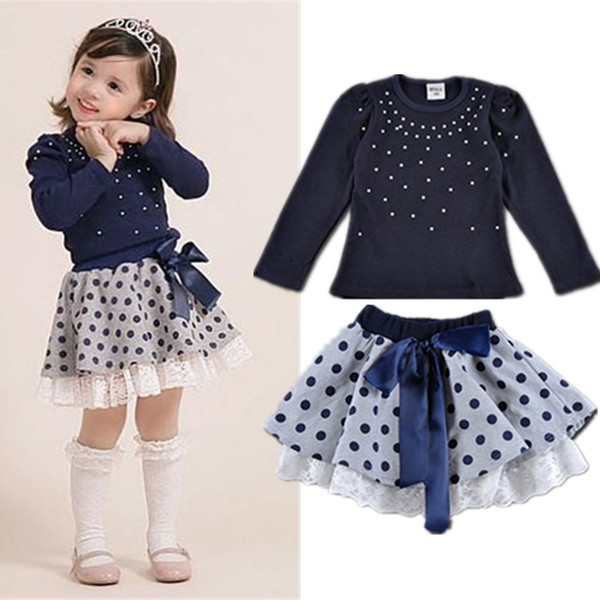 New Autumn Girls Long Sleeve T-shirt + Tutu Skirt 2 pieces Clothing Dot Bow Big Girls Clothes Sets