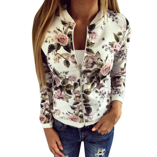 donne Cappotto 2018 Womens Ladies Biker Celeb Camo Fiore FLoral Stampa Zipper Up Giacca Bomber Tops Jn.1