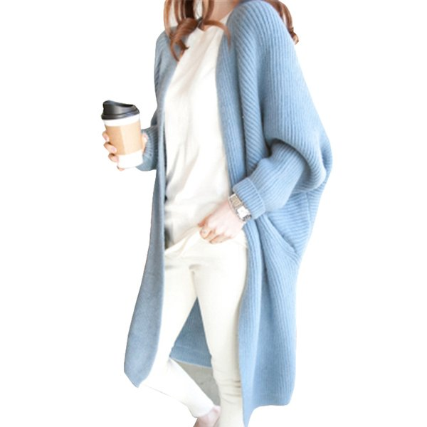 9 Colors Batwing Sleeve Long Cardigan Sweaters Women 2017 Fall Autumn Winter Casual Knit Loose Jumper Outwear Oversize Cardigan L18100801