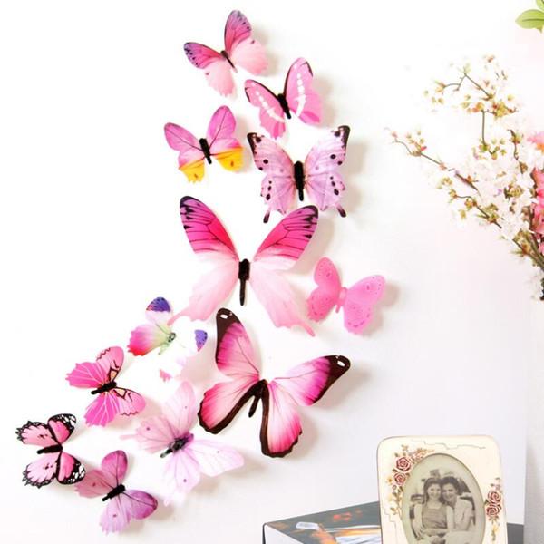 Nuevo Calificado Pegatinas de Pared 12 unids / lote calcomanías Pegatinas de Pared Decoraciones para el hogar 3D Butterfly Rainbow PVC Wallpaper Para la Sala de estar