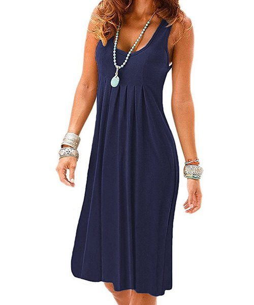 Ladies Casual Oversized Maxi Plus Size Long Sleeveless Swing Dress Women Boho Ruffle Evening Party Solid Sundress