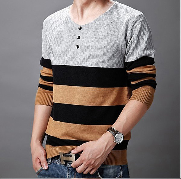 New Casual Wear Autumn Winter Warm Men Sweater Sueter Hombre Fashion Design Striped Mens Sweater For 2018
