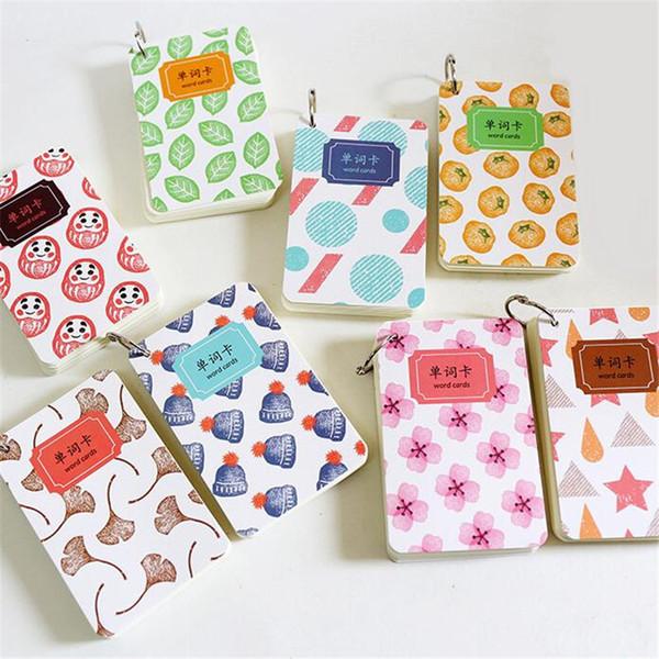 110 fogli portatili carino modello di Word Cards memo pad cancelleria scuola forniture per ufficio Chancery Mini Pocket quaderno a spirale