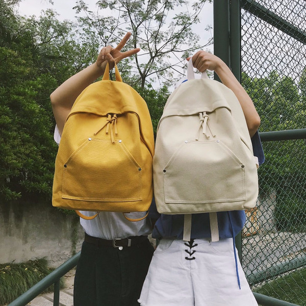 New PB16-25 linen contrast color backpack female trend shopping backpack Japan and South Korea student bag