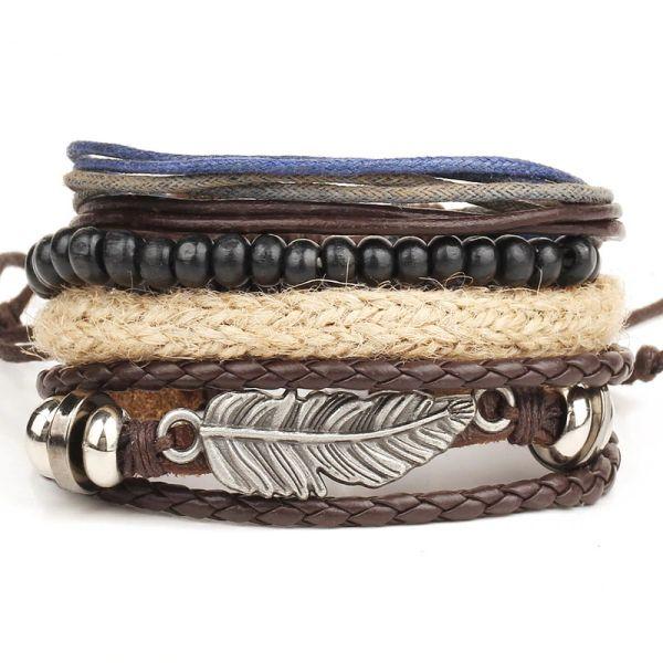 10sets Bracelet en cuir Hommes S Multilayer Perle Bracelet Femmes '; S Retro Punk Casual Hommes'; S Bijoux Bracelet Bijoux Accessoires