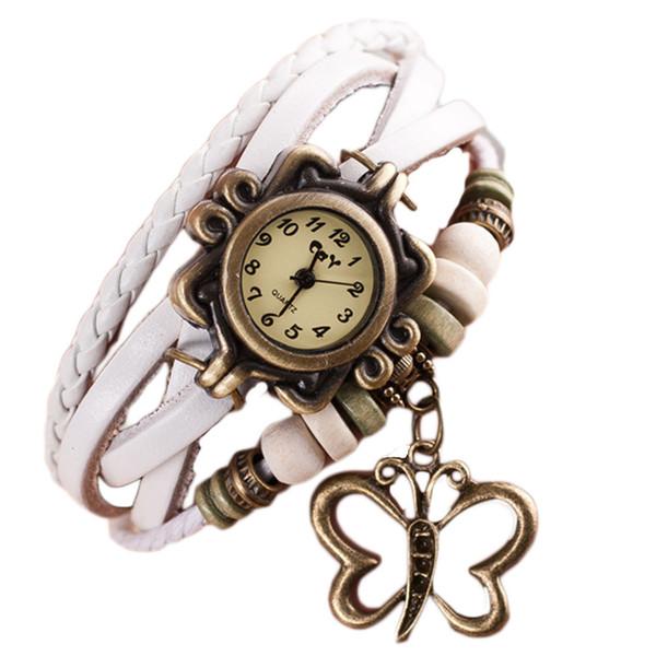 2018 Cool Quartz Weave Around Women Watches Leather Butterfly Bracelet Lady Woman Wrist Watch 11.06