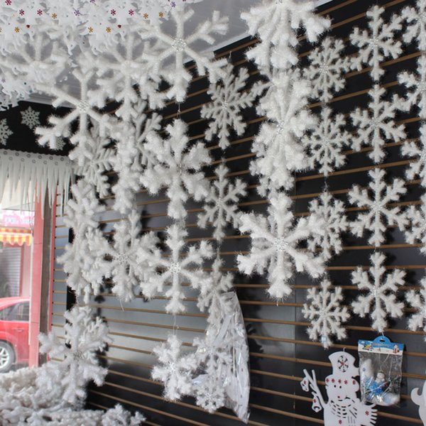 New 30pcs 11cm Christmas Ornament White Snowflakes Plastic Christmas Snowflake Tree Window Christmas Decorations For Home DIY