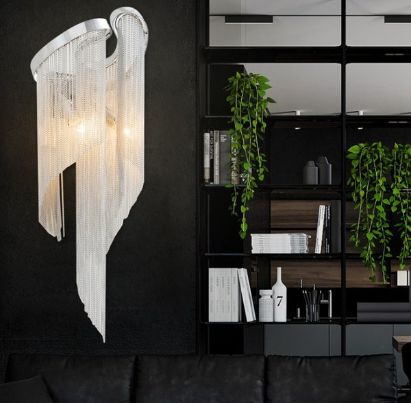 Modern creative tassel chain wall light luxury Villa Hotel LLFA