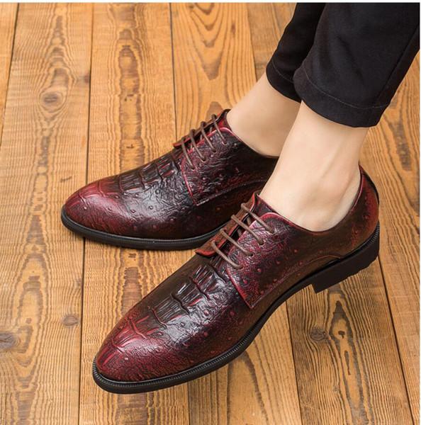 Zapatos de hombre de otoño hombres de negocios afilados inglés versión coreana estilista de cocodrilo, zapatos de hombre