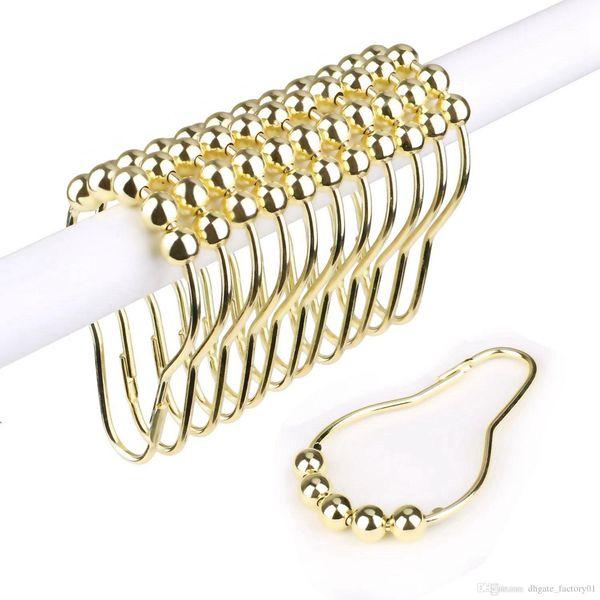 Gold Silver Rustproof Stainless Steel Shower Curtain Rings Hooks for Bathroom Shower Rod