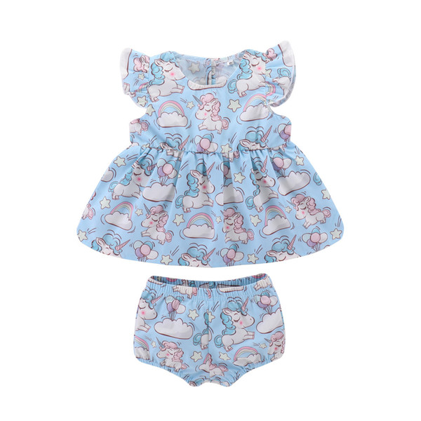 Cute Infant Baby Clothing Sets Girls Unicorn Rainbow Cloud Balloon Sleeveless Vest Dress Tops +Shorts 2PCS Summer Toddler Newborn Clothes