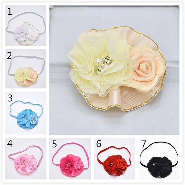 14pcs красивые волосы цветок ленты лук Цзинь Бьяньхуа розы шифон сломанный цветок детский диапазон волос HD016
