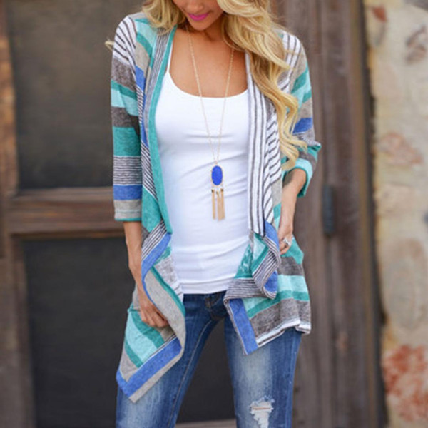 Top Sell Women Fashion Boho Autumn Geometric Printed Irregular Long Sleeve Loose Knit Cardigans Coat