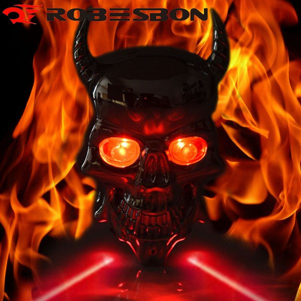 ROBESBON Skull Waterproof Rear Bicycle Light Cycling Led Lamp Red Safe Warning Laser Taillight Bike Accessories 7 Modes