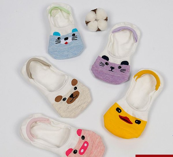 Summer New Arrival women cute cartoon animal pattern invisible for ladies sock slippers 5 pairs/box