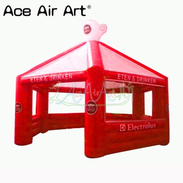Tente de concession gonflable extérieure entièrement rouge, tente de kiosque / pub avec le logo pour la partie et la publicité