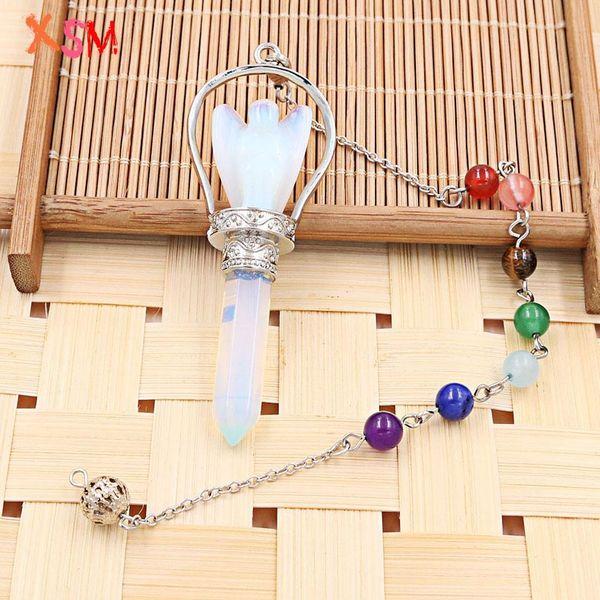 xinshangmie Fashion Silver Plated Opal Hexagon Angel Pendant Pendulum Chakra Chain For Women Charm Jewellery 1Pcs