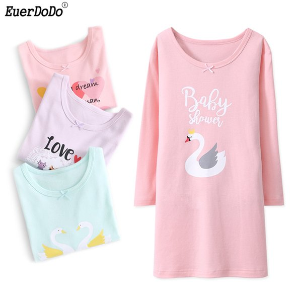 Cotton Cartoon Long Sleeve Nightgowns For Girls Nightdress Loose ...