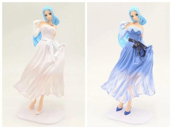 LilyToyFirm Anime One Piece Vivi Princess Action Figure Blue White Lady Edge Wedding Dress Ver. Vivi PVC 22cm Toys
