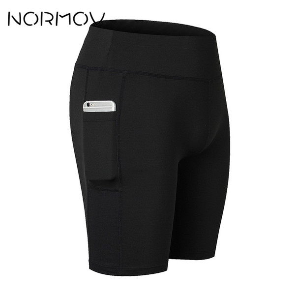 NORMOV Solid High Waist Running Shorts Women Fitness Clothes Pocket Sweat Yoga Shorts Female Athletic Short Sport Femme 6 Color