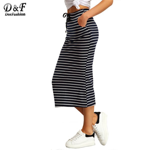 Dotfashion Navy and White Drawstring Striped Twin Pockets Slim Pencil Vintage Skirts Spring/Summer European Style SkirtY1882501