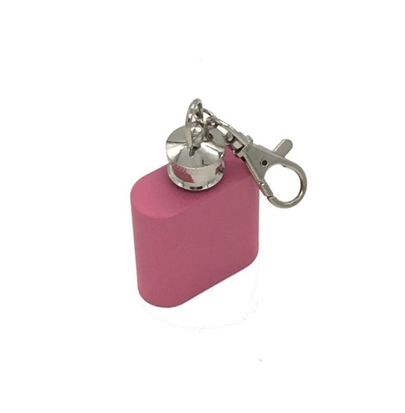 Pink Color 1oz Mini Hip Flask Portable Liquor Wine Pot Stainless Steel Metal Hip Flask Travel Whiskey Bottle with Keychain Wholesale