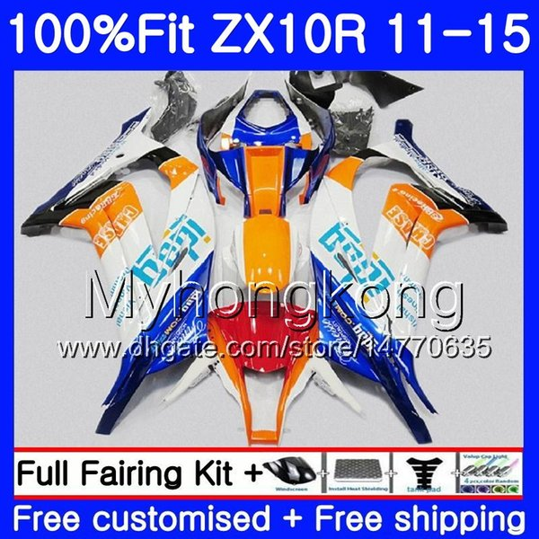 Injection For KAWASAKI NINJA ZX 10 R ZX10R 11 12 13 14 15 218HM.1 ZX 10R 1000 CC ZX-10R Blue orange white 2011 2012 2013 2014 2015 Fairing
