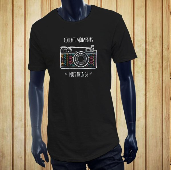 CAMERA COLLECT MOMENTS MEMORIES FILM PHOTOGRAPHER Men Black Extended Long TShirt