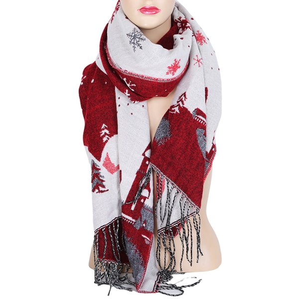 Christmas Scarf.Christmas Scarf For Women 2018 Christmas Gift Snow Print Wraps Shawl Winter Scarves Shawl Scarves Women Girls Bandana Style Bandana Day From Tonic