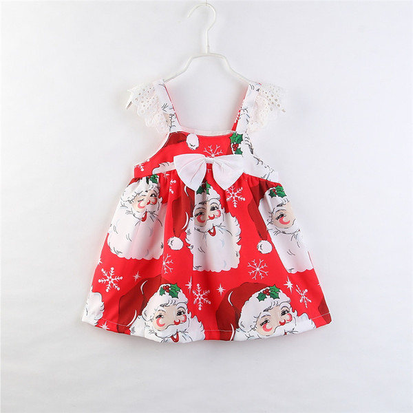 Kids Clothing 2018 Brand New Toddler Infant Baby Girl Clothes Christmas Dress Bowknot Floral Sleeveless Strap Princess Party Girls Dresses