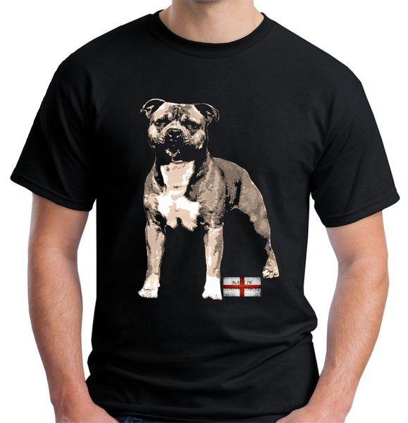 Velocitee Hommes Staffordshire Bull Terrier T-shirt Sbt Staffie Chien Imprimer T-shirt Hommes D'été Style De Mode Top Tee
