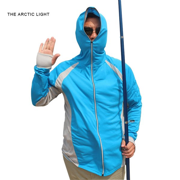 THE ARCTIC LIGHT Long Sleeve Shirt UV Protection Quick dry T shirt Men Blue Climbing Hiking Fishing Clothes Outdoor C18111401