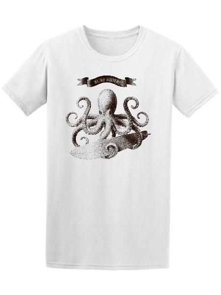 Surfer Rider Surfinger Octopus Tee - Изображение от Shutterstock печатная футболка с коротким рукавом мужская футболка комичная рубашка мужская