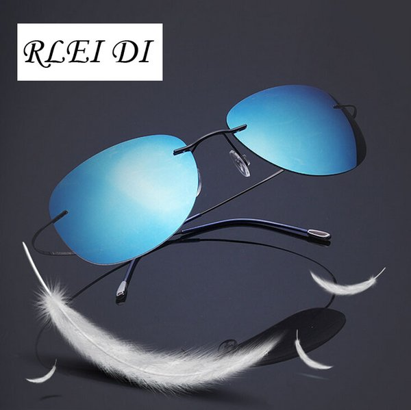 RLEI DI High quality Ultra-light Flexible Pure Titanium Rimless Mirror Polarized Sunglasses Eyeglasses Eyewear Unisex Sunglasses