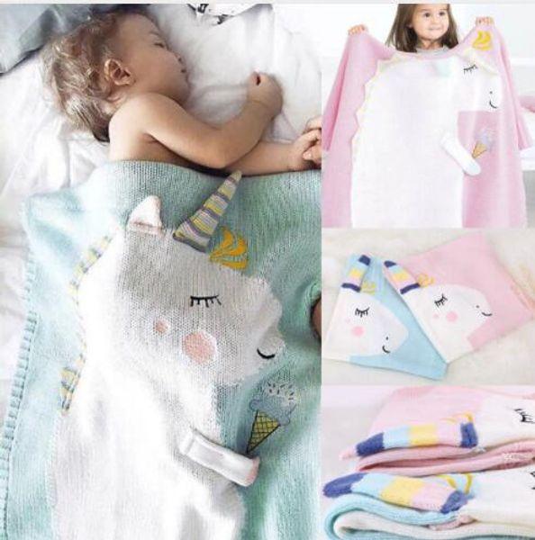 kids Unicorn blanket Knitted Newborn Wrap For Baby Kids Baby Room Decoration Blanket Baby Swaddle Blanket 105*75CM KKA5585